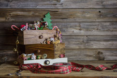 Wooden christmas background in vintage and nostalgia style. royalty free stock photography