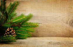 Wooden christmas backgrounds fir spruce cone Royalty Free Stock Photography