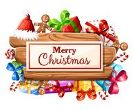 Wooden Christmas board with set of gifts and the inscription with Merry Christmas illustration isolated on white background. Web site page and mobile app design royalty free illustration