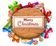 Wooden Christmas board with set of gifts and the inscription with Merry Christmas illustration isolated on white background. Web site page and mobile app design stock illustration