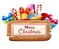 Wooden Christmas board with set of gifts and the inscription with Merry Christmas illustration isolated on white background. Web site page and mobile app design vector illustration