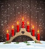 Traditional Christmas wooden candlestick with red candles. Wooden Christmas candlestick with red burning candles on dark brown wooden background, vector stock illustration