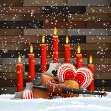 Christmas candles with heart, candles and violin stock images