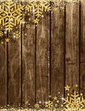 Wooden christmas card with frame of golden glittering snowflake. S and stars, vector illustration vector illustration