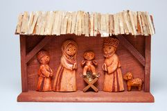 Wooden Christmas Crib. Picture of wooden christmas crib, handcarved, horizontal shot Stock Image