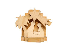 Wooden Christmas crib of Holy Family - Nativity sc Stock Photos