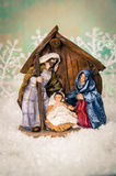 Wooden christmas crib Royalty Free Stock Photos