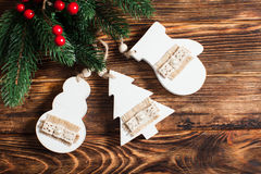 Wooden Christmas decor Royalty Free Stock Image