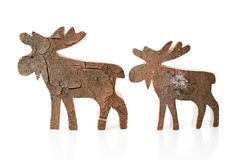 Wooden christmas decoration - isolated reindeer or elk handmade Stock Photography