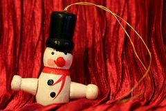 Wooden Christmas decoration - Snowman Royalty Free Stock Image