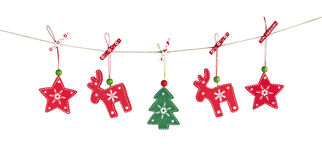 Wooden Christmas decorations stock images