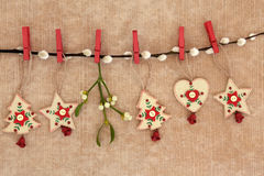 Wooden Christmas Decorations Royalty Free Stock Images