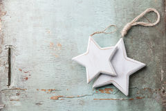 Wooden Christmas decorations stars Royalty Free Stock Photo