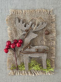 Wooden christmas deer Stock Photo
