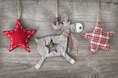 Wooden christmas deer Stock Photos