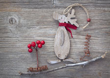 Wooden christmas deer Stock Photography