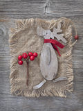 Wooden christmas deer Royalty Free Stock Image