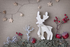 Wooden christmas deer Stock Image