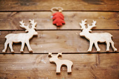 Wooden Christmas deers Royalty Free Stock Photo