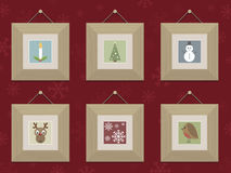 Wooden christmas frames Royalty Free Stock Photo