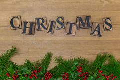Wooden Christmas with garland Royalty Free Stock Images