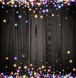 Wooden Christmas luminous background. Vector illustration Royalty Free Stock Images