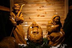 Wooden christmas nativity scene – the holy family, life size Royalty Free Stock Photography