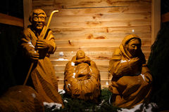 Wooden christmas nativity scene – the holy family, life size Royalty Free Stock Photography