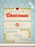 Wooden Christmas and New Year sign Stock Photo