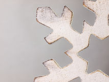 Wooden Christmas ornament. Big snowflake. Royalty Free Stock Images