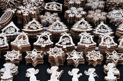 Wooden christmas ornaments, Prague Royalty Free Stock Image