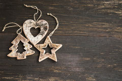 Wooden Christmas Ornaments for the Tree with Star,Heart and Fir Stock Images