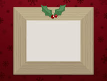 Wooden christmas picture frame Royalty Free Stock Images