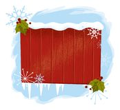 Wooden Christmas Sign with Snow vector illustration