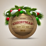 Wooden Christmas Signboard Stock Photo