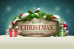 Wooden Christmas Signboard Royalty Free Stock Photography