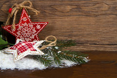 Wooden christmas star decoration on wooden Stock Photo