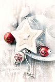 Wooden Christmas star on a rustic background royalty free stock image