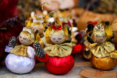 Wooden Christmas tree angel decorations. At Budapest winter holiday market Royalty Free Stock Image