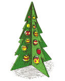 Wooden Christmas Tree with Baubles. Hand Drawn Wooden Green Christmas Treewith Red and Yellow Baubles. Isolated on a White Royalty Free Stock Images