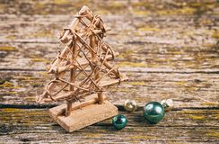 Wooden, Christmas tree. On a blue background of old rotten boards. Blurred background. close-up stock images