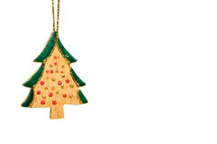 Wooden christmas tree decoration isolated on white Royalty Free Stock Image