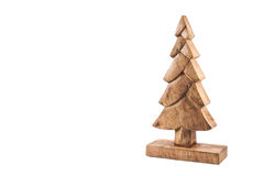 Wooden christmas tree isolated on white. Christmas background Royalty Free Stock Image
