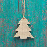 Wooden christmas tree on a old shabby board for a greeting card Stock Images