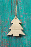 Wooden christmas tree on a old shabby board for a greeting card Stock Photo