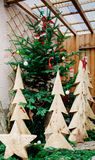 Wooden Christmas tree ready Royalty Free Stock Image