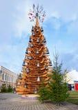 Wooden Christmas tree in Riga Old city. Riga, Latvia - December 26, 2015: Wooden Christmas tree in Riga, Latvia. In the Old city of Riga stock photos