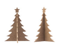 Wooden Christmas tree with star for decoration isolated on white Royalty Free Stock Image