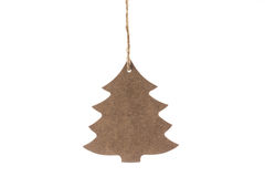 Wooden Christmas tree with star for decoration isolated on white Stock Image