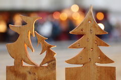 Wooden christmas trees Royalty Free Stock Photos